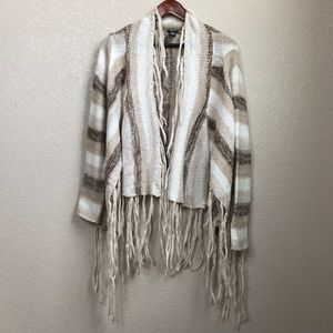 Long Sleeve Cardigan Sweater Wrap w/ Fringe XL